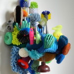 Linda Aldrich, Renew Your Reef. (2012) brushes, sponges, scrubbers, scouring pads, mop heads, plunger, gloves, wood, 28x15x18in